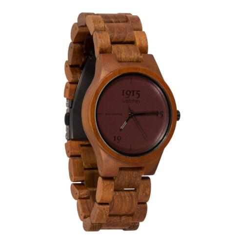 1915 watches - 1915 watch lady real leather bordeaux houten horloge