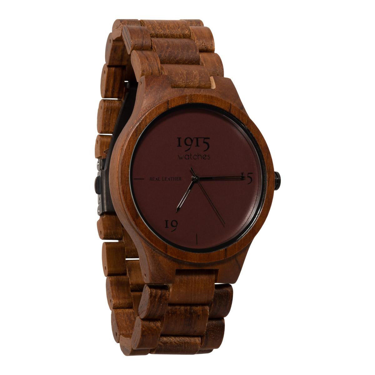 1915 watches - 1915 watch men real leather bordeaux houten horloge