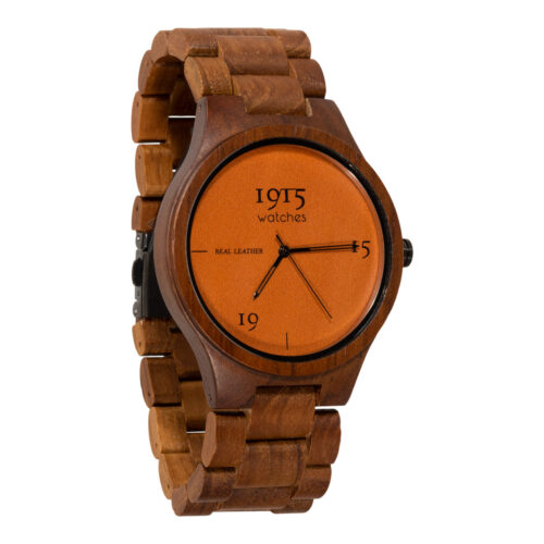 1915 watches - 1915 watch men real leather cognac houten horloge
